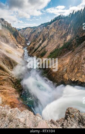 Waterfall, Lower Yellowstone Falls, Waterfall in a gorge, Yellowstone River in the Grand Canyon of the Yellowstone