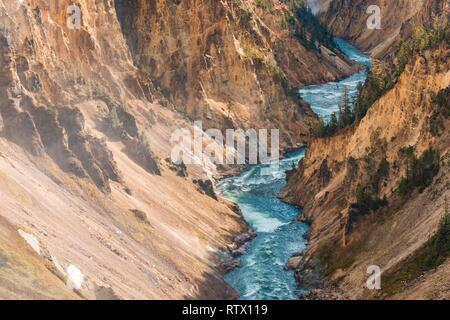 Yellowstone River flows through Gorge, Grand Canyon of the Yellowstone, View from North Rim, Brink of the Lower Falls