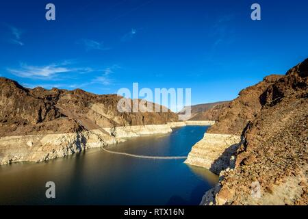 View to Lake Mead from the Hoover Dam, Hoover Dam, dam, near Las Vegas, the water level dropped about 30 m, Boulder City - Stock Photo