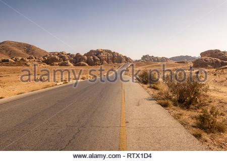 Kings' Highway, from Amman to Petra and Aqaba, passing through Little Petra, Jordan - Stock Photo