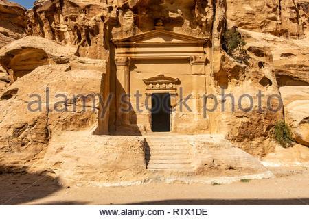 Roman-style Nabatean temple at the UNESCO World Heritage site of Little Petra, Jordan - Stock Photo