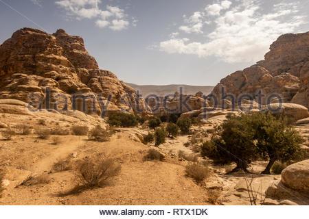 Landscape behind the Siq of Little Petra (Siq al-Barid), Al-Baydha, Jordan - Stock Photo