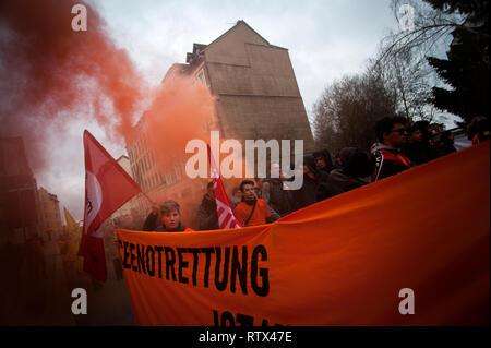 Orange Block Anti racism and Anti fascism march in Chemnitz, Saxony, Germany. - Stock Photo