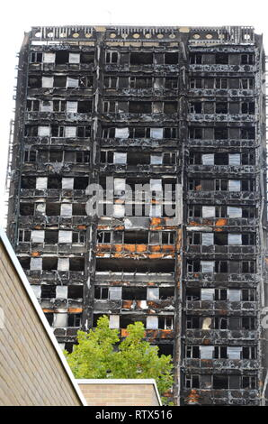 Grenfell tower fire, environmental pollution, contamination of environment - Stock Photo
