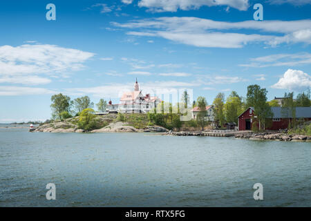 Idyllic islnad near by Helsinki with sunny and bright spring day in Finland - Stock Photo