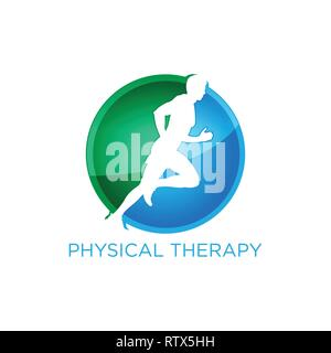 physical therapy logo with human run figure - Stock Photo