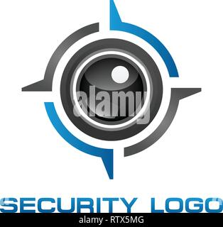 vector logo template concept illustration. Abstract human eye creative sign. Security technology and surveillance. Design element. - Stock Photo