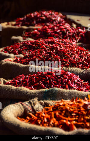 Red Chillies in sacks, Khari Baoli,  Bustling Indian Wholesale Spice Market, Old Delhi, India - Stock Photo