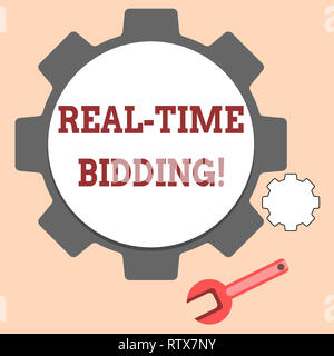 Handwriting text writing Real Time Bidding. Concept meaning Buy and sell advertising inventory by instant auctions - Stock Photo