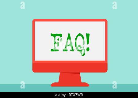 Writing note showing Faq. Business photo showcasing Frequently asked question for clearing up confusions - Stock Photo