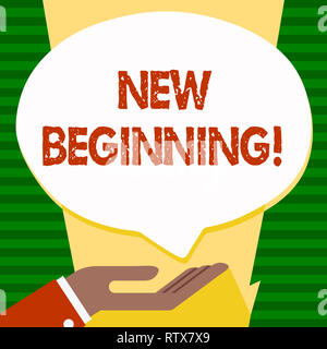 Handwriting text New Beginning. Concept meaning Fresh Start Changing Form Growth Life New Way to Work - Stock Photo