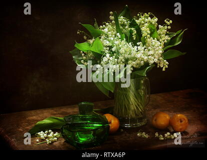 Still life with apricots and a bouquet of lilies of the valley on a brown background - Stock Photo