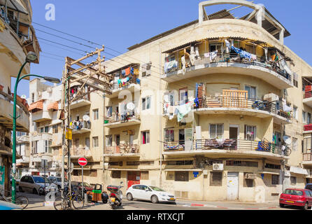 TEL AVIV, ISRAEL - MAY 04, 2013: Scene of Florentin neighbourhood, with houses and their balconies. In the southern part of Tel Aviv, Israel - Stock Photo
