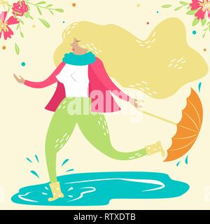 Hand-drawn vector girl walks in the rain with an umbrella and walks through the puddles.  Springtime - Stock Photo