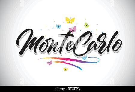MonteCarlo Handwritten Word Text with Butterflies and Colorful Swoosh Vector Illustration Design. - Stock Photo
