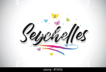 Seychelles Handwritten Word Text with Butterflies and Colorful Swoosh Vector Illustration Design. - Stock Photo