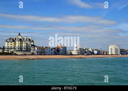 View of Eastbourne Seafront from Eastbourne Pier, East Sussex, UK - Stock Photo