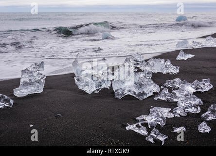 Ice on the Diamond Beach in southeast Iceland - Stock Photo