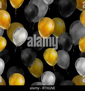 A lot of luxury balloons in gold, silver and black colours, seamless pattern on black - Stock Photo