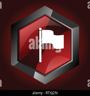 Flag hexagonal glossy dark red and black web icon, vector illustration in eps 10 - Stock Photo