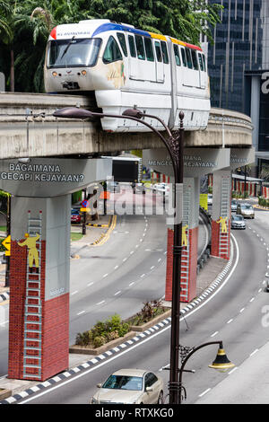 MRT (Mass Rapid Transit) Serving Central Kuala Lumpur, Malaysia. - Stock Photo