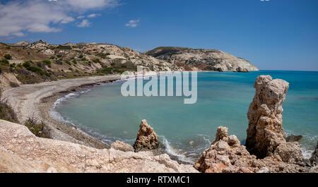 Petra tou Romiou bay in Cyprus. - Stock Photo