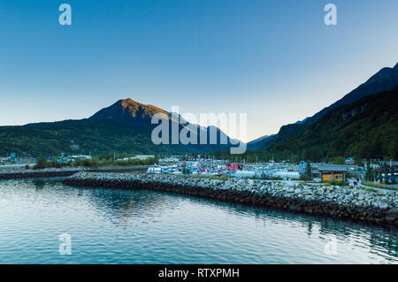September 15, 2018 - Skagway, AK: Calm early morning of the Small Boat Harbour at daybreak. - Stock Photo
