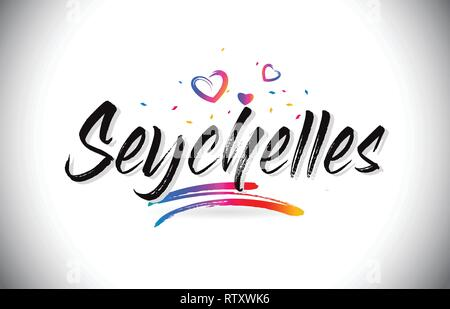 Seychelles Welcome To Word Text with Love Hearts and Creative Handwritten Font Design Vector Illustration. - Stock Photo