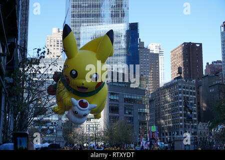 New York, USA - November 2018: annual Macys Thanksgiving Day Parade in New York City on November pokemon pikachu baloon - Stock Photo