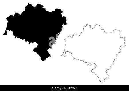 Lower Silesian Voivodeship (Administrative divisions of Poland, Voivodeships of Poland) map vector illustration, scribble sketch Lower Silesian Provin - Stock Photo