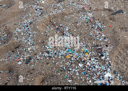 Corigliano Rossano, Italy, 02 March, 2019 -  Microplastics along the Schiavonea beach, transported by the Ionian sea during the last sea storm. The fo - Stock Photo