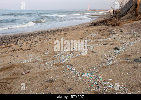 Corigliano Rossano, Italy, 02 March, 2019 -  A view of the Schiavonea beach with microplastics, transported by the Ionian sea during the last sea stor - Stock Photo