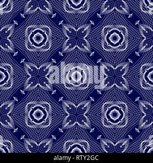 Blue and white Oriental pattern. Seamless symmetrical pattern of swirls, lines and stars. Vector illustration. - Stock Photo