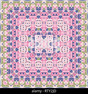 Elegant square pink abstract pattern. Can be used to design pillows, scarves, neckerchief, bandanna, cushion. - Stock Photo
