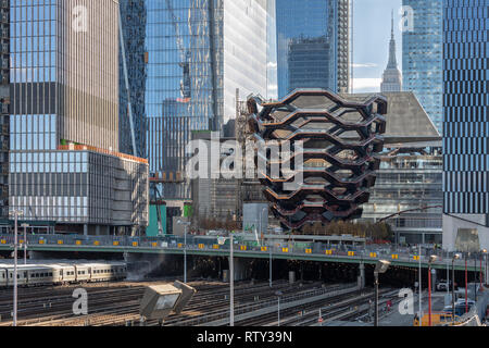 Thomas Heatherwick's Vessel at Hudson Yards from the Highline - Stock Photo