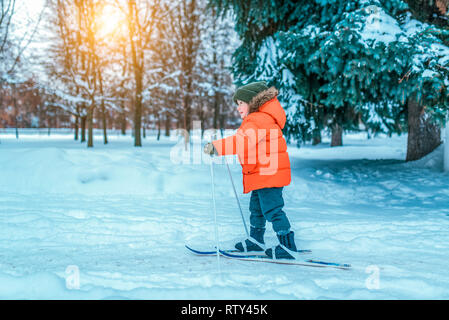 A little boy of 4-6 years old in a red jacket on children's skis. In winter, in the city park, first steps on skis, the beginning of sports activities - Stock Photo