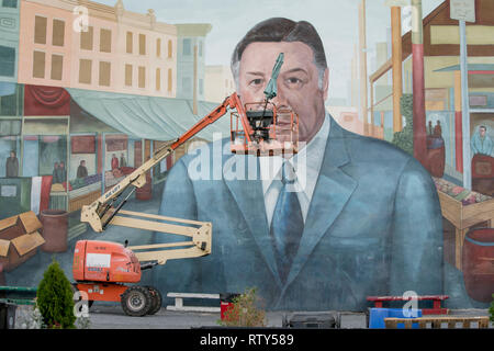 past mayor Frank Rizzo mural in South Philadelphia, Italian Market - Stock Photo