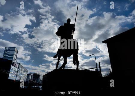 statue of Don Quixote in north Philadelphia - Stock Photo