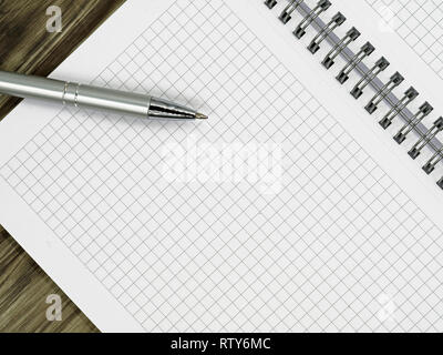 close up of blank notebook and a pen on wooden office desk with copy space - Stock Photo