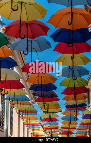 Umbrella Street in the coastal town of Novigrad on the Istria Peninsula in Croatia