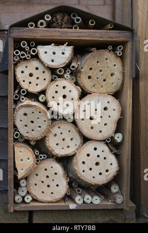 Close-up of a homemade bee house (bee hotel) with holes of varying sizes drilled in logs against a garden fence - Stock Photo
