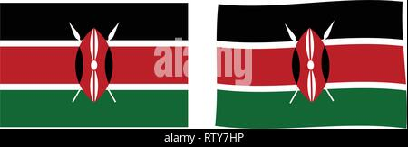 Republic of Kenya flag. Simple and slightly waving version. - Stock Photo