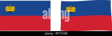 Principality of Liechtenstein flag. Simple and slightly waving version. - Stock Photo