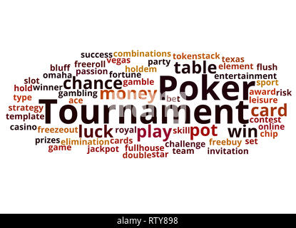 Poker tournament word cloud concept on white background. - Stock Photo