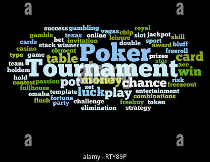 Poker tournament word cloud concept on black background. - Stock Photo