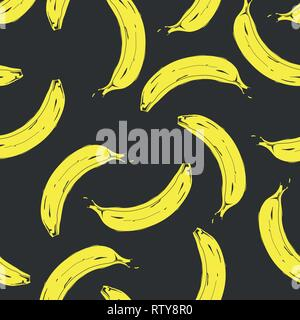 Seamless pop art banana pattern randomly distributed on color background. Vector Illustration. - Stock Photo