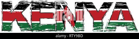 Word KENYA with Kenyan national flag under it, distressed grunge look. - Stock Photo