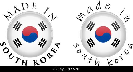 Simple Made in South Korea 3D button sign. Text around circle with Korean flag. Decent and casual font version. - Stock Photo