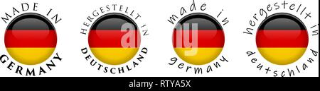 Simple Made in Germany/ Hergestellt in Deutschland (German translation) 3D button sign. Text around circle with national flag. Decent and casual font - Stock Photo