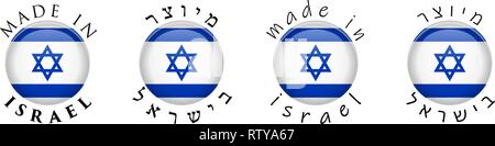 Simple Made in Israel / Hebrew translation 3D button sign. Text around circle with Israeli flag. Decent and casual font version. - Stock Photo